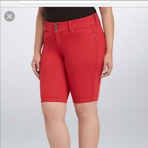 NWOT Torrid Red Bermuda  Denim Shorts Size 10
